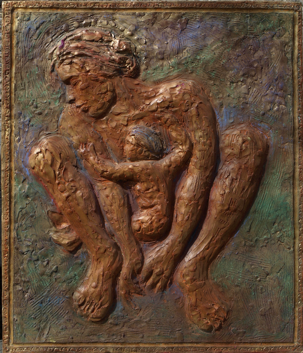 "Mother and Child ""Bas Relief"" Sculptural  24"" x 29"" goldleafed gilded plaster  $5,000.00"